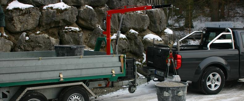 der montagekran ideal und praktisch f r transporter pritschenwagen anh nger oder pick up. Black Bedroom Furniture Sets. Home Design Ideas